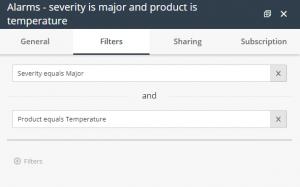 Report window - filter tab