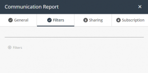Communication report - filters tab