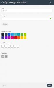 alarms list widget settings