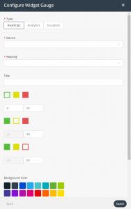 Gauge widget settings