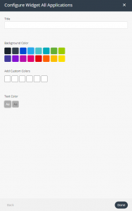 All Applications widget settings
